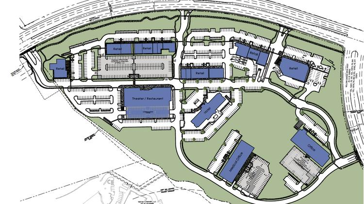 Here's a look at Stratus Properties' plan for Lantana Place. The road at the top of the drawing is Southwest Parkway.
