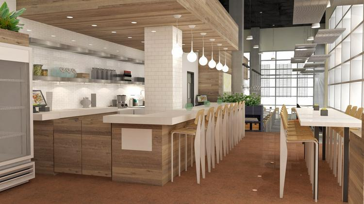 a rendering of the entrance of living kitchen which is scheduled to open in july - Living Kitchen Raleigh