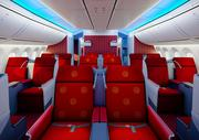 The business class cabin on Hainan Airlines's Boeing 787 Dreamliner.