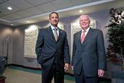 Yousef Ahmad, left, is CEO of Mercy Health, and Michaell Connelly, right, is CEO of Catholic Health Partners.