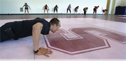 Bernardo Tapia, assistant fitness manager, goes through a workout at the Arrillaga Center for Sports and Recreation at Stanford University.