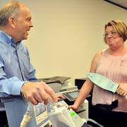 Rodney Gray and staff help customers look for home medical equipment, including pediatric ventilators.