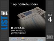 4 (tied): JT Smith Cos.  The full list of the top homebuilders - including contact information - is available to PBJ subscribers.  Not a subscriber? Sign up for a free 4-week trial subscription to view this list and more today